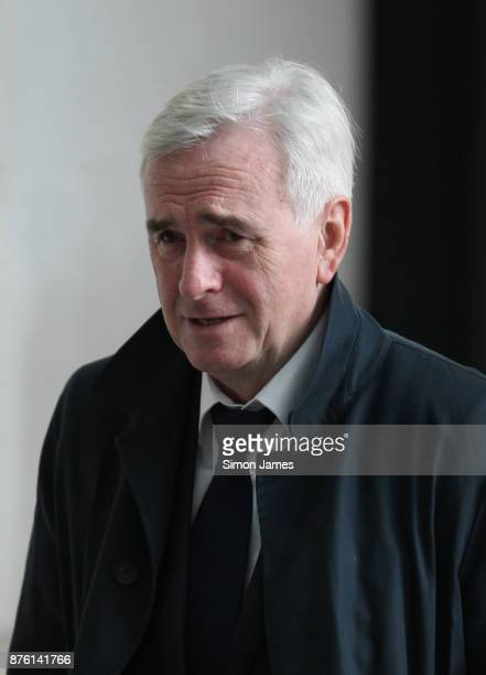 John McDonnell Shadow Chancellor of the Exchequer seen at the BBC on November 19 2017 in London England