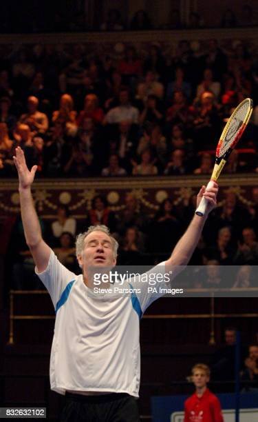 John McEnroe after beating Anders Jarryd during the Blackrock Masters at the Royal Albert Hall London