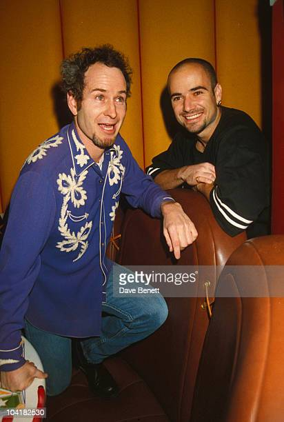 Andre Agassi With John Mcenroe At All Star Cafe Opens In Time Square New York City