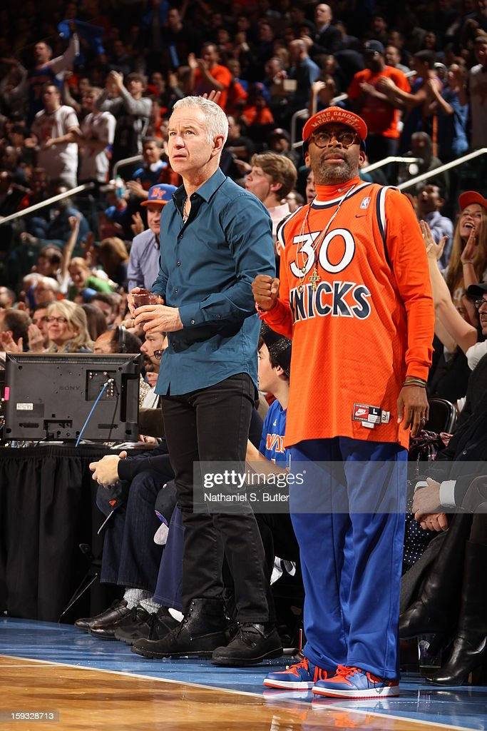John McEnroe and Director/Actor Spike Lee watch the New York Knicks play the Chicago Bulls on January 11, 2013 at Madison Square Garden in New York City.