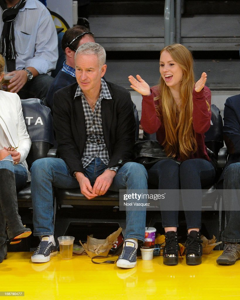 <a gi-track='captionPersonalityLinkClicked' href=/galleries/search?phrase=John+McEnroe&family=editorial&specificpeople=159411 ng-click='$event.stopPropagation()'>John McEnroe</a> and his daughter Anna McEnroe attend a basketball game between the Portland Trailblazers and the Los Angeles Lakers at Staples Center on December28, 2012 in Los Angeles, California.
