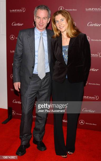 John McEnroe and Monica Seles during A Legend of The Road Meets The Legends of Sports Reception and Live Auction to Benefit The Laureus Sport For...