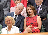 John McEnroe and Patty Smyth attend day six of the Wimbledon Tennis Championships at Wimbledon on July 02 2016 in London England