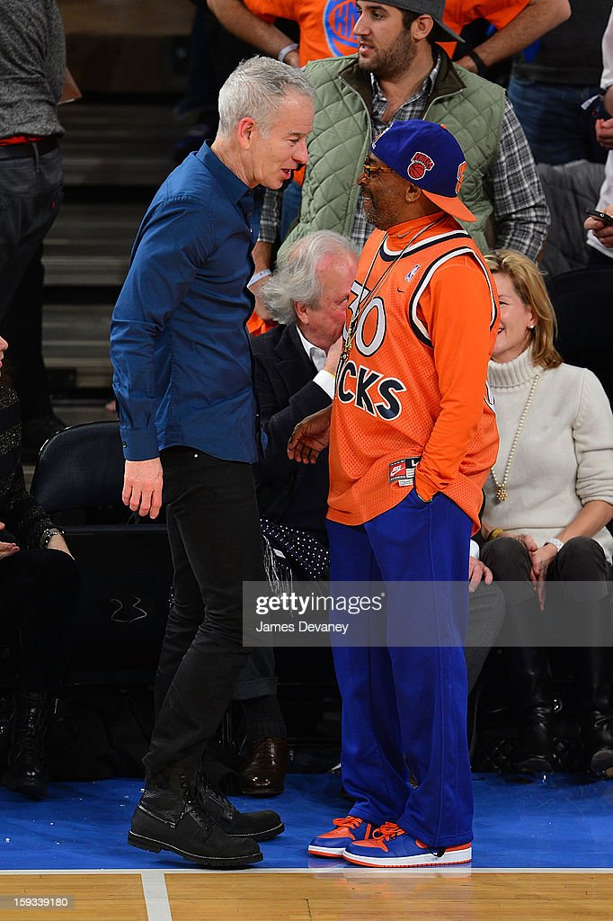 John McEnroe and Spike Lee attend the Chicago Bulls vs New York Knicks game at Madison Square Garden on January 11, 2013 in New York City.
