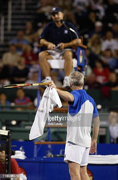 John McEnroe argues with the chair umpire after he called a let on his serve John McEnroe defeated Thomas Muster 62 63 at the Westside Tennis Club on...