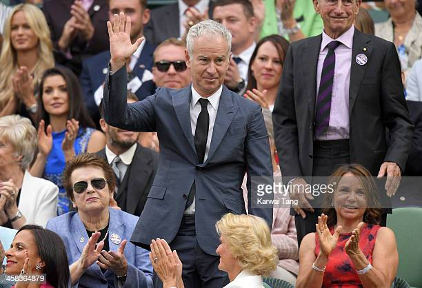John McEnroe attends day six of the Wimbledon Tennis Championships at Wimbledon on July 02 2016 in London England