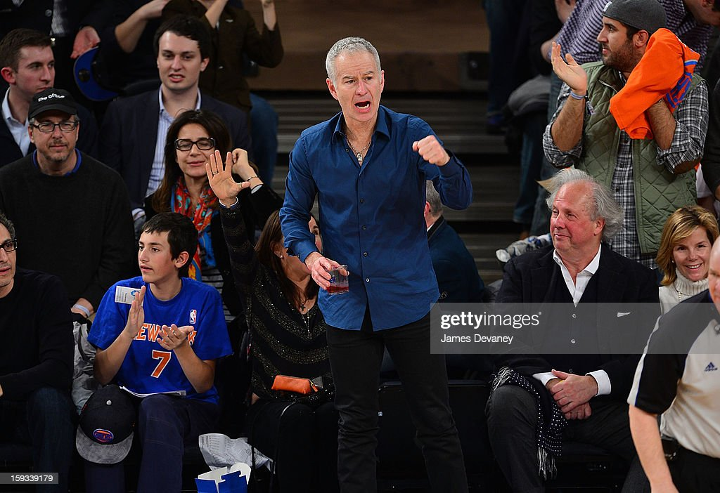 John McEnroe attends the Chicago Bulls vs New York Knicks game at Madison Square Garden on January 11, 2013 in New York City.