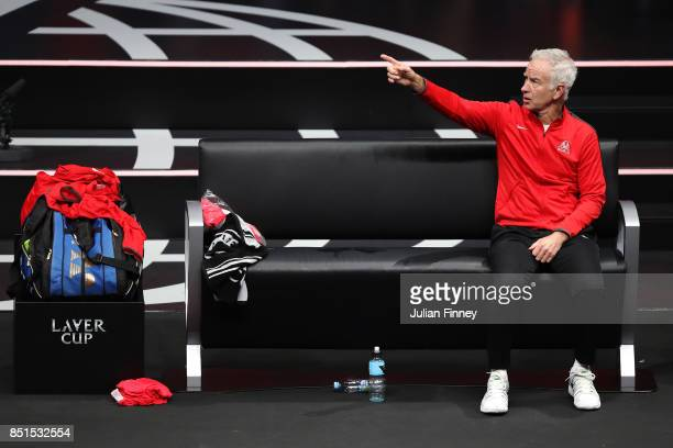 John Mcenroe Captain of Team World looks on as Marin Cilic of Team Europe plays his singles match against Frances Tiafoe of Team World on the first...