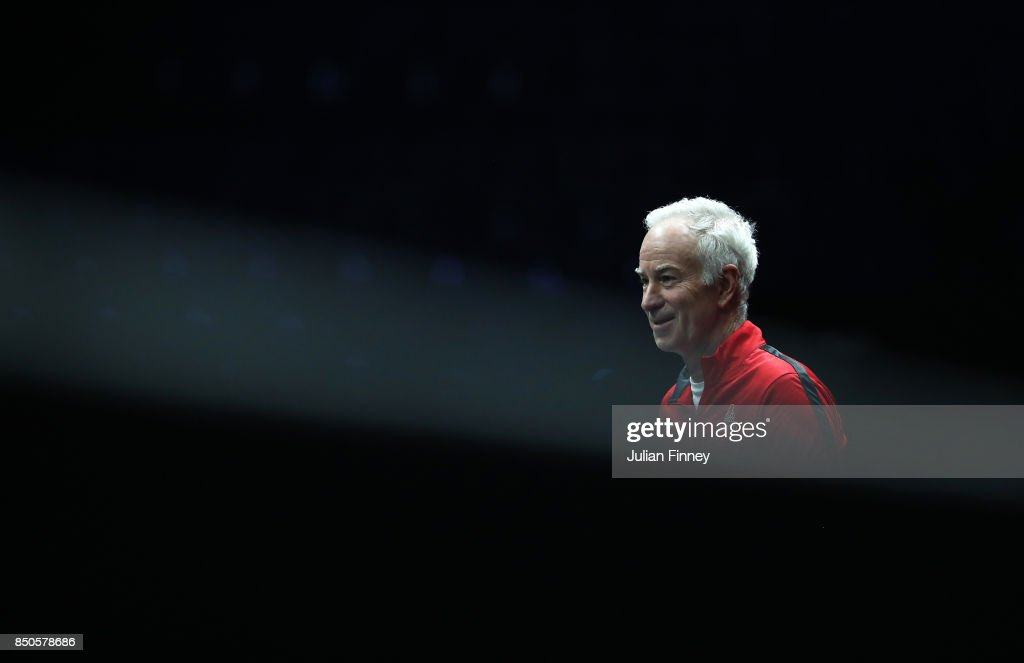 John Mcenroe, Captain of Team World looks on during practice ahead of the Laver Cup on September 21, 2017 in Prague, Czech Republic. The Laver Cup consists of six European players competing against their counterparts from the rest of the World. Europe will be captained by Bjorn Borg and John McEnroe will captain the Rest of the World team. The event runs from 22-24 September.