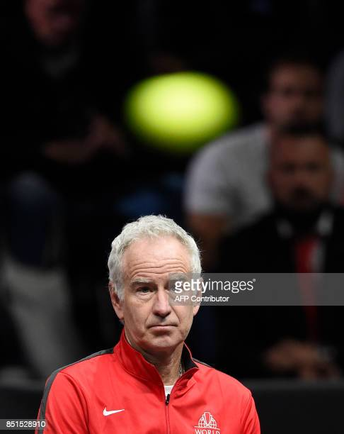 John Mcenroe Captain of Team World reacts during the match John Isner against Austrian Dominic Thiem of Team Europe during the first day of the Laver...