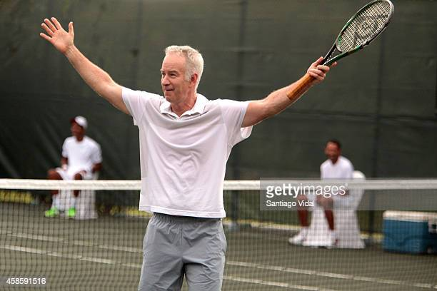 John McEnroe celebrates after a good play during an exhibition match between John McEnroe and Jim Courier at Casa de Campo Hotel on November 07 2014...