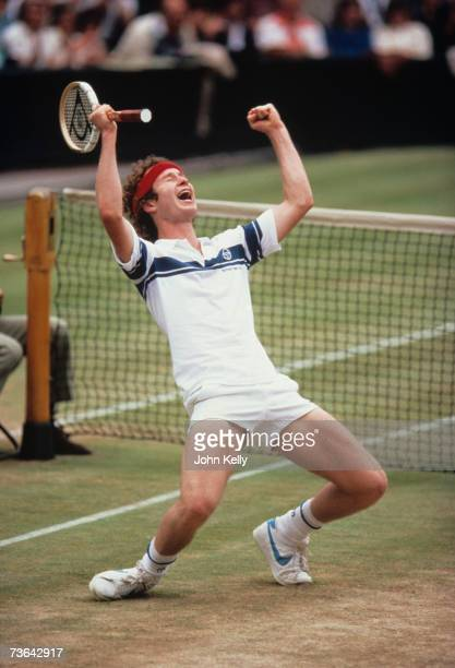 John McEnroe celebrates after defeating his Bjorn Borg in the men's 1981 final