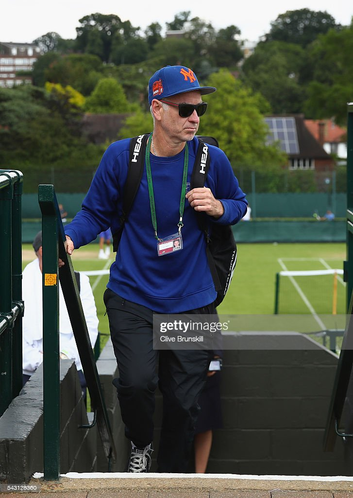 <a gi-track='captionPersonalityLinkClicked' href=/galleries/search?phrase=John+McEnroe&family=editorial&specificpeople=159411 ng-click='$event.stopPropagation()'>John McEnroe</a> coach of Milos Raonic of Canada after a practice session prior to the Wimbledon Lawn Tennis Championships at the All England Lawn Tennis and Croquet Club on June 26, 2016 in London, England.