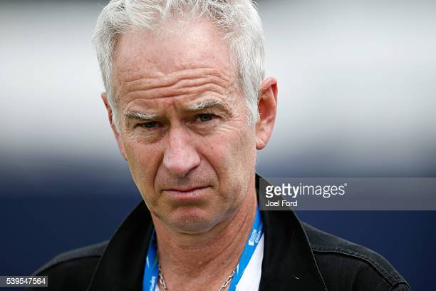 John McEnroe during a practice session for Milos Raonic at the Aegon Championships at Queens Club on June 12 2016 in London England