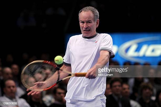 John McEnroe hits a return against Ivan Lendl during the BNP Paribas Showdown at Madison Square Garden on February 28 2011 in New York City