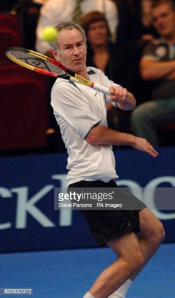 John McEnroe in action against Anders Jarryd during the Blackrock Masters at the Royal Albert Hall London