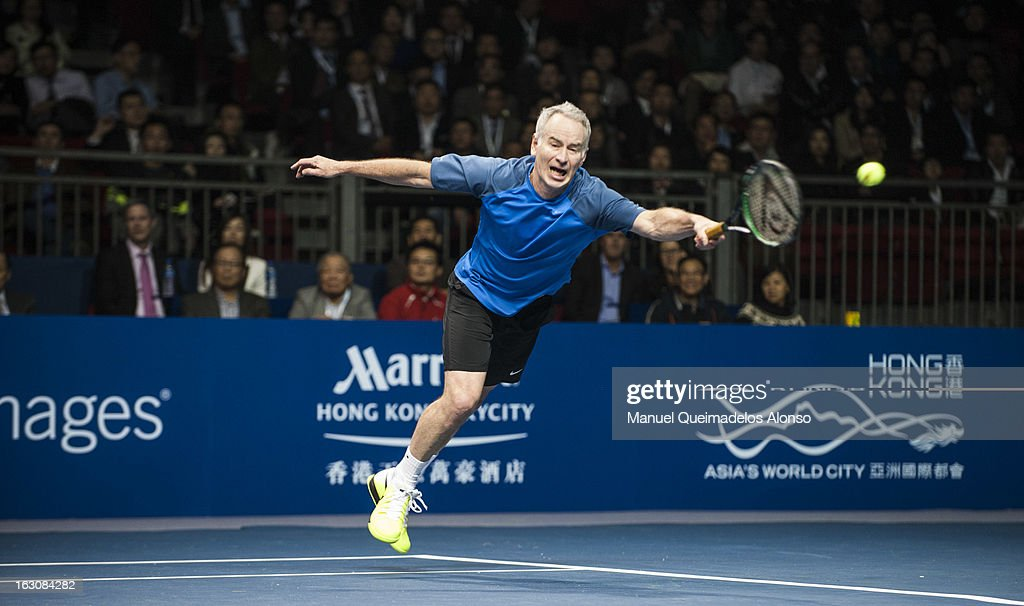 <a gi-track='captionPersonalityLinkClicked' href=/galleries/search?phrase=John+McEnroe&family=editorial&specificpeople=159411 ng-click='$event.stopPropagation()'>John McEnroe</a> in action during his match against Ivan Lendl as part of the Hong Kong Showdown at the Asia-World Expo on March 4, 2013 in Hong Kong, China.