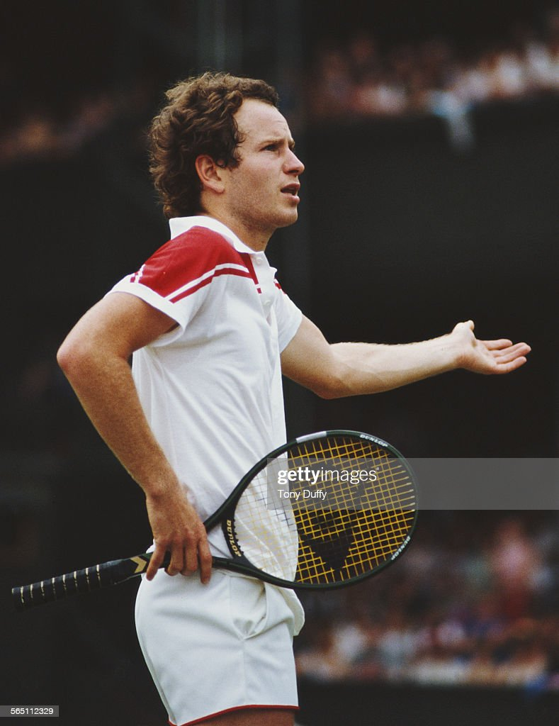 John McEnroe of the United States during a Men's Singles match at the Wimbledon Lawn Tennis Championship on 26 June 1983 at the All England Lawn Tennis and Croquet Club in Wimbledon in London, England.