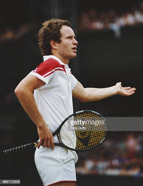 John McEnroe of the United States during a Men's Singles match at the Wimbledon Lawn Tennis Championship on 26 June 1983 at the All England Lawn...