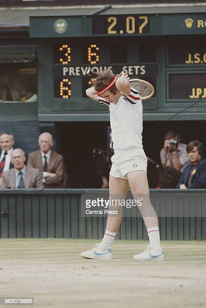 John McEnroe of the United States during the Men's Singles Semi Final match against Jimmy Connors at the Wimbledon Lawn Tennis Championship on 4 July...