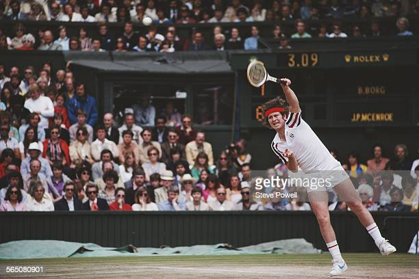 John McEnroe of the United States serves during the Men's Singles Final match against Bjorn Borg at the Wimbledon Lawn Tennis Championship on 6 July...