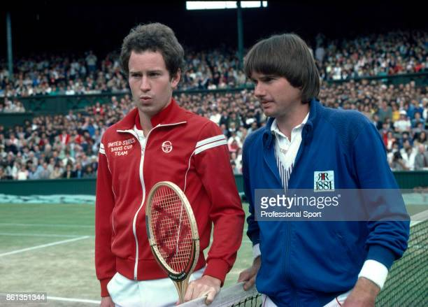 John McEnroe of the USA and Jimmy Connors of the USA pose together before the mens singles Final match at the Wimbledon Lawn Tennis Championships at...
