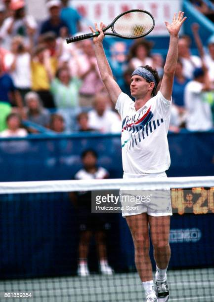 John McEnroe of the USA celebrates during the US Open at the USTA National Tennis Center circa September 1990 in Flushing Meadow New York USA