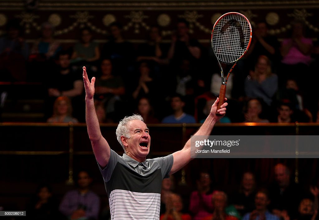 <a gi-track='captionPersonalityLinkClicked' href=/galleries/search?phrase=John+McEnroe&family=editorial&specificpeople=159411 ng-click='$event.stopPropagation()'>John McEnroe</a> of the USA celebrates victory in his Legends Exhibition singles match against Henri Leconte of France during day five of the Statoil Masters Tennis at the Royal Albert Hall on December 6, 2015 in London, England.