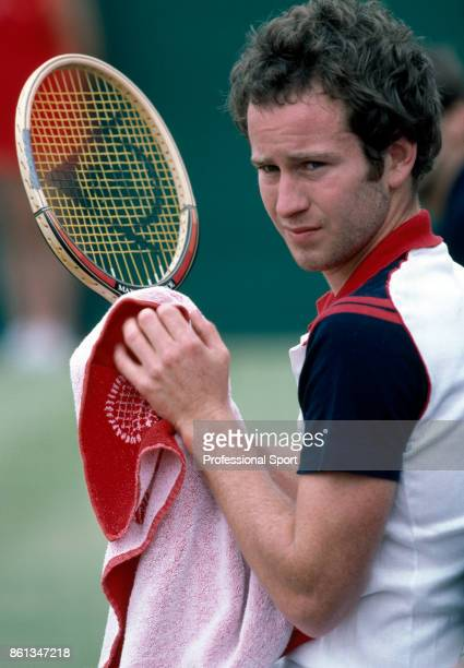 John McEnroe of the USA during the Stella Artois Championships at the Queen's Club in London England circa June 1981