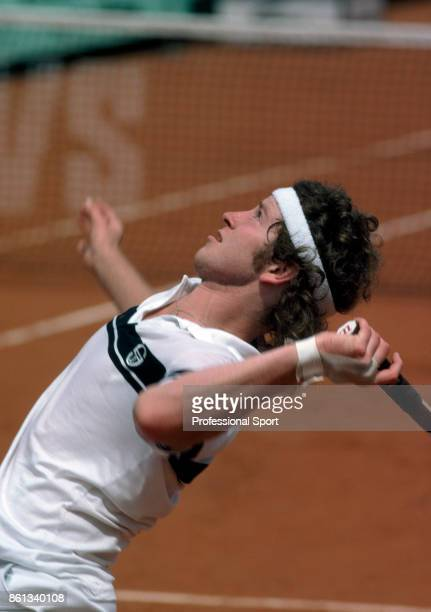 John McEnroe of the USA in action during the French Open Tennis Championships at the Stade Roland Garros circa May 1980 in Paris France