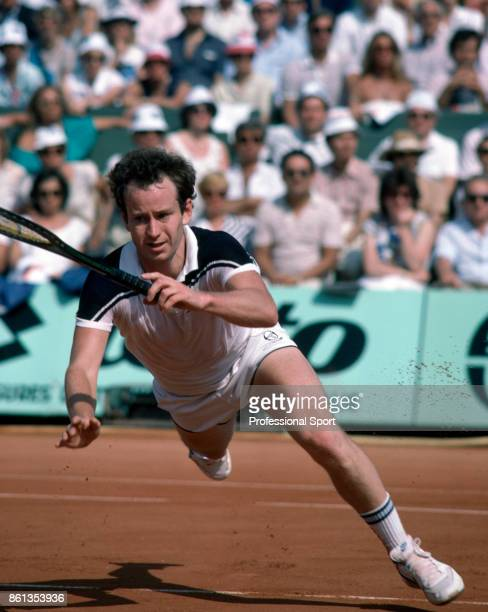 John McEnroe of the USA in action during the French Open Tennis Championships at the Stade Roland Garros circa May 1984 in Paris France