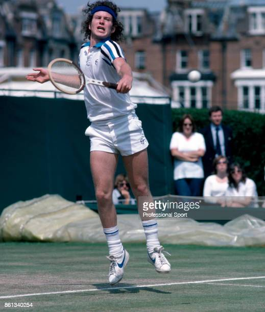 John McEnroe of the USA in action during the Stella Artois Championships at the Queen's Club in London England circa June 1980