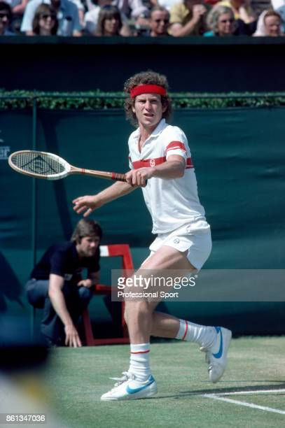 John McEnroe of the USA in action during the Stella Artois Championships at the Queen's Club in London England circa June 1981