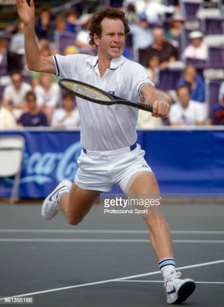 John McEnroe of the USA in action during the Volvo International tennis tournament at the Stratton Mountain Resort in Windham County USA circa August...