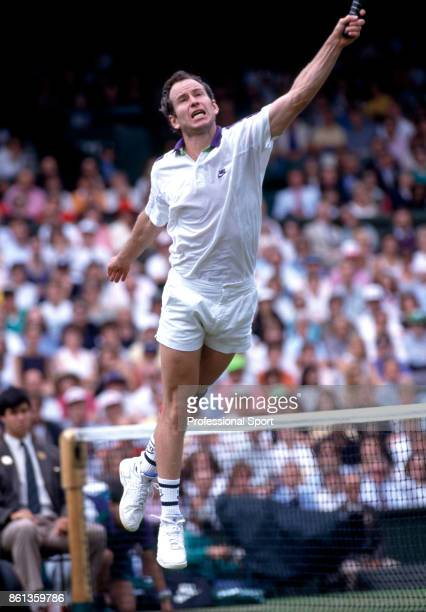 John McEnroe of the USA in action during the Wimbledon Lawn Tennis Championships at the All England Lawn Tennis and Croquet Club circa June 1992 in...