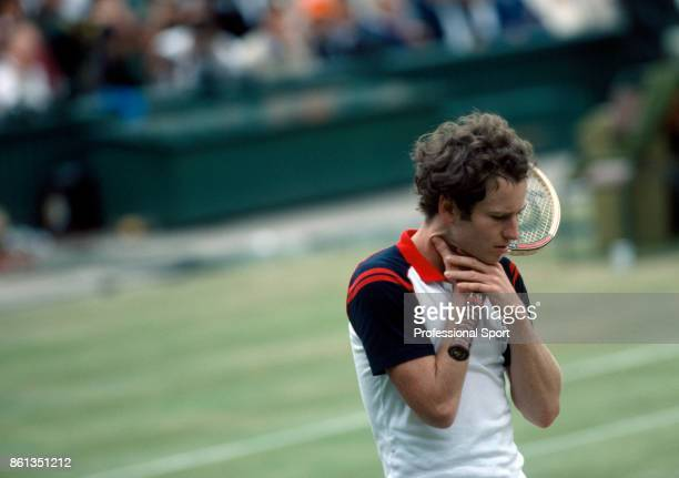 John McEnroe of the USA reacts during the mens singles Final match against Jimmy Connors of the USA at the Wimbledon Lawn Tennis Championships at the...
