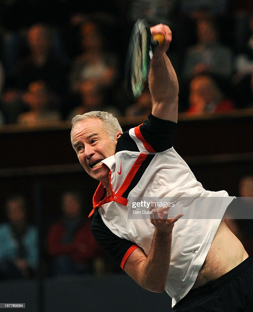 <a gi-track='captionPersonalityLinkClicked' href=/galleries/search?phrase=John+McEnroe&family=editorial&specificpeople=159411 ng-click='$event.stopPropagation()'>John McEnroe</a> of United States in action during his match against Jeremy Bates of Great Britain on Day Two of the Statoil Masters Tennis at the Royal Albert Hall on December 6, 2012 in London, England.