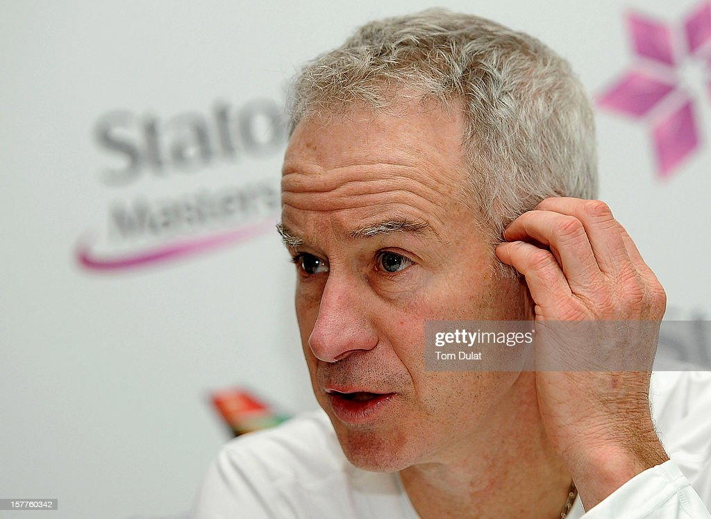 John McEnroe of United States speaks to the media on Day Two of the Statoil Masters Tennis at the Royal Albert Hall on December 6, 2012 in London, England.