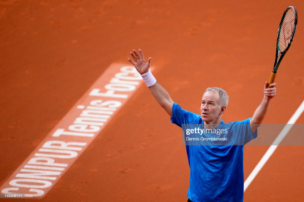 <a gi-track='captionPersonalityLinkClicked' href=/galleries/search?phrase=John+McEnroe&family=editorial&specificpeople=159411 ng-click='$event.stopPropagation()'>John McEnroe</a> of USA reacts during his Beremberg Bank Classics exhibition match against Pat Cash of Australia during day one of the WTA Porsche Tennis Grand Prix at Porsche Arena on April 23, 2012 in Stuttgart, Germany.