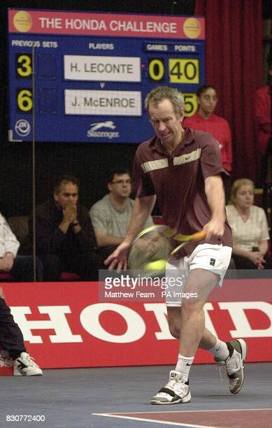 John McEnroe on his way to beating Henri Leconte 20 during the Honda Challenge tennis tournament at the Royal Albert Hall London
