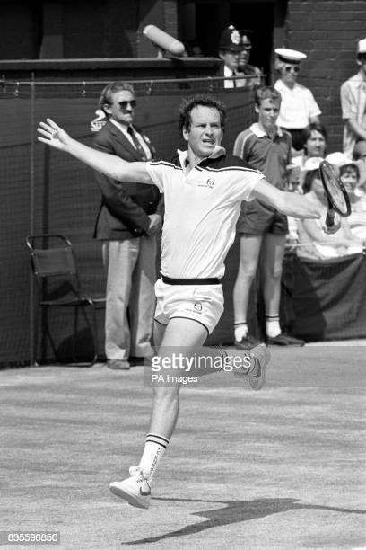 John McEnroe plays a backhand on his way to winning Wimbledon