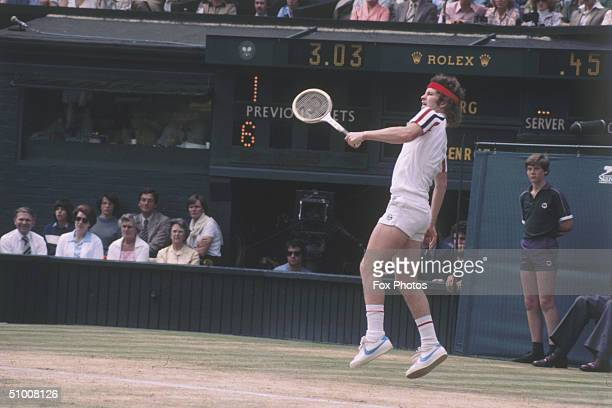 John McEnroe plays Bjorn Borg at the Wimbledon finals 1980