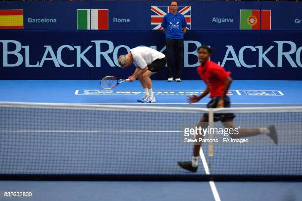 John McEnroe reacts against Anders Jarryd during the Blackrock Masters at the Royal Albert Hall London