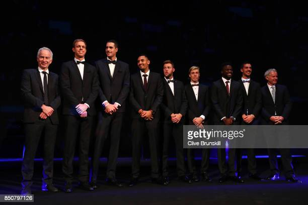John Mcenroe Sam Querrey John Isner Nick Kyrgios Jack Sock Denis Shapovalov Frances Tiafoe and Thanasi Kokkinakis of Team World line up on stage at...