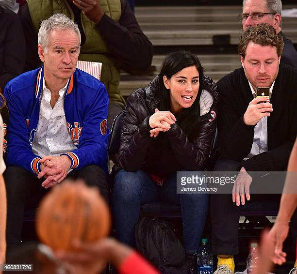 John McEnroe Sarah Silverman and guest attend New York Knicks vs Washington Wizards game at Madison Square Garden on December 25 2014 in New York City