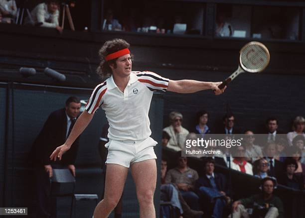 John McEnroe seen in action during Wimbledon Men's Singles Final in which he played Bjorn Borg He lost Mandatory Credit Allsport Hulton/Archive