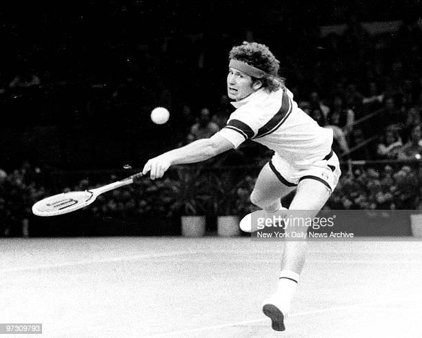 John McEnroe vs Arthur Ashe Tennis Finals John McEnroe blasts backhad toward Arthur Ashe at Madison Square Garden