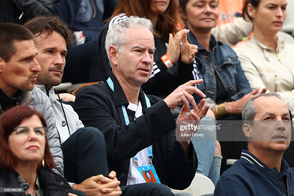 <a gi-track='captionPersonalityLinkClicked' href=/galleries/search?phrase=John+McEnroe&family=editorial&specificpeople=159411 ng-click='$event.stopPropagation()'>John McEnroe</a> watches the action during the Men's Singles fourth round match between Milos Raonic of Canada and Alberto Ramos Vinolas of Spain on day eight of the 2016 French Open at Roland Garros on May 29, 2016 in Paris, France.