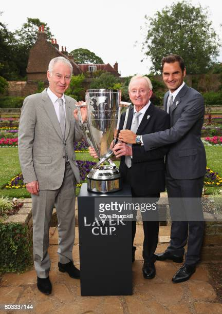 John McEnroeRod Laver and Roger Federer pose with the Laver Cup trophy at the unveiling of the Laver Cup trophy at Cannizaro House on June 29 2017 in...