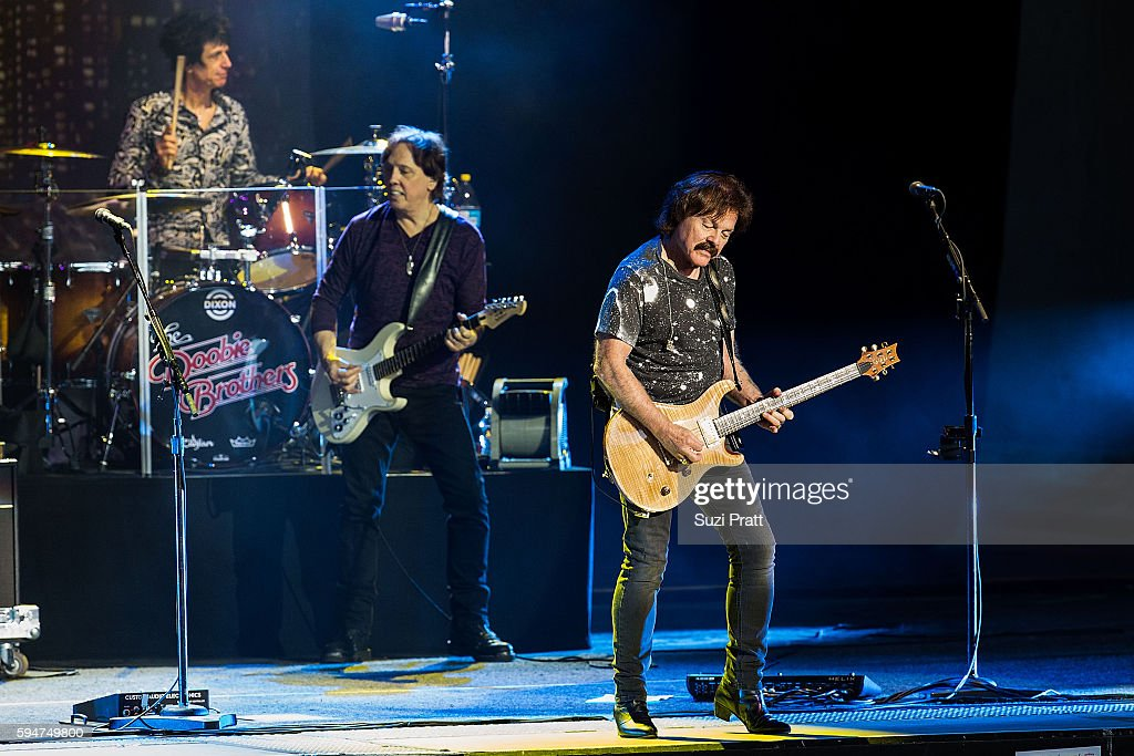 John McFee and Bill Payne of The Doobie Brothers performs at White River Amphitheatre on August 23 2016 in Auburn Washington